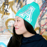 Me We Letter Beanie/Ihan A/Silver On Bright Green